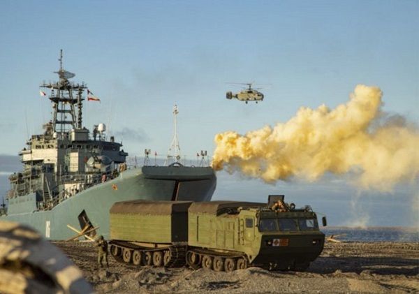 Warships from Russia's Northern Fleet hold tactical exercises simulating battle on remote arctic New Siberian Islands